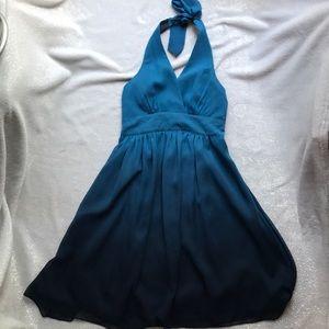 Stunning Teal Ombré colored Express Halter dress